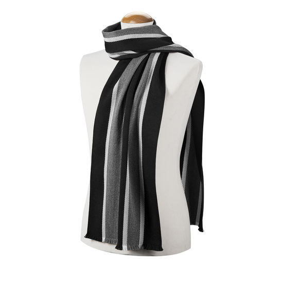 College Stripes Merino Wool Scarf in Black & Grey from Aspinal of London