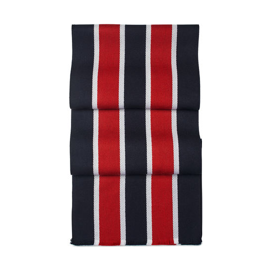 College Stripes Merino Wool Scarf in Navy & Red from Aspinal of London