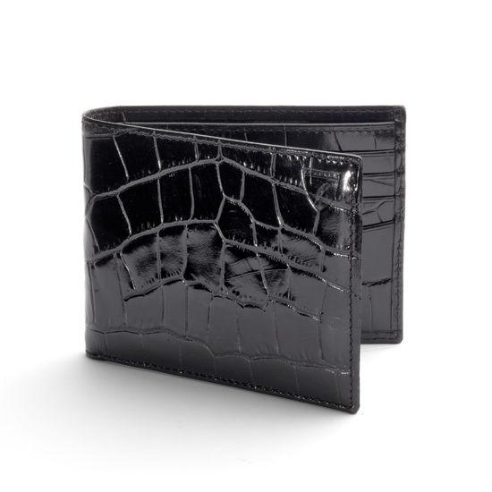 8 Card Billfold Wallet in Deep Shine Black Croc & Cobalt Suede from Aspinal of London