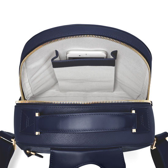 Small Mount Street Backpack in Navy Saffiano from Aspinal of London
