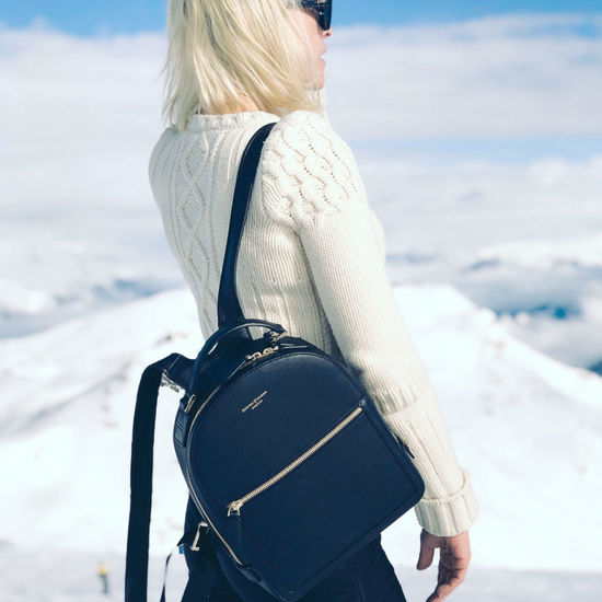 Small Mount Street Backpack in Black Pebble from Aspinal of London