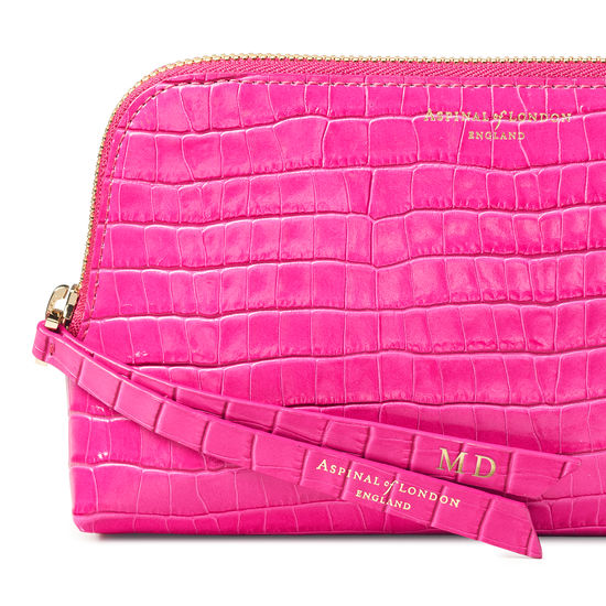 Small Essential Cosmetic Case in Deep Shine Penelope Pink Small Croc from Aspinal of London