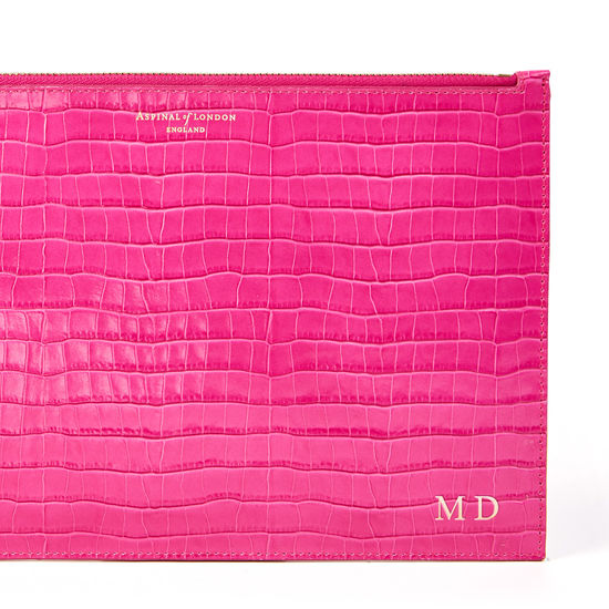 Large Essential Flat Pouch in Deep Shine Penelope Pink Small Croc from Aspinal of London