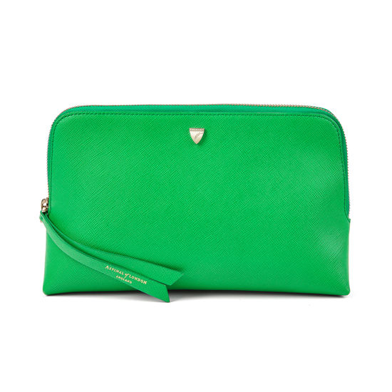 Large Essential Cosmetic Case in Bright Green Saffiano from Aspinal of London