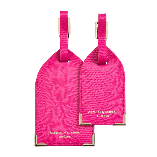 Set of 2 Luggage Tags in Penelope Pink Silk Lizard from Aspinal of London