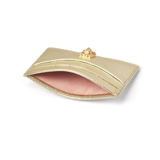 Lion Slim Credit Card Holder in Pale Gold Pebble from Aspinal of London