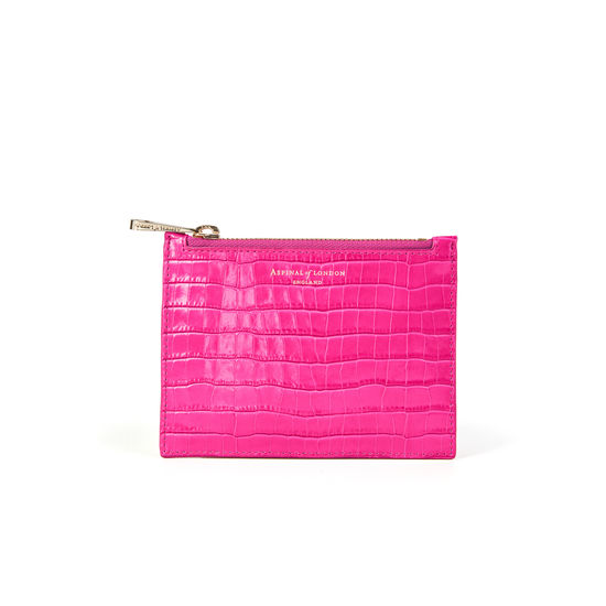 Small Essential Flat Pouch in Deep Shine Penelope Pink Small Croc from Aspinal of London