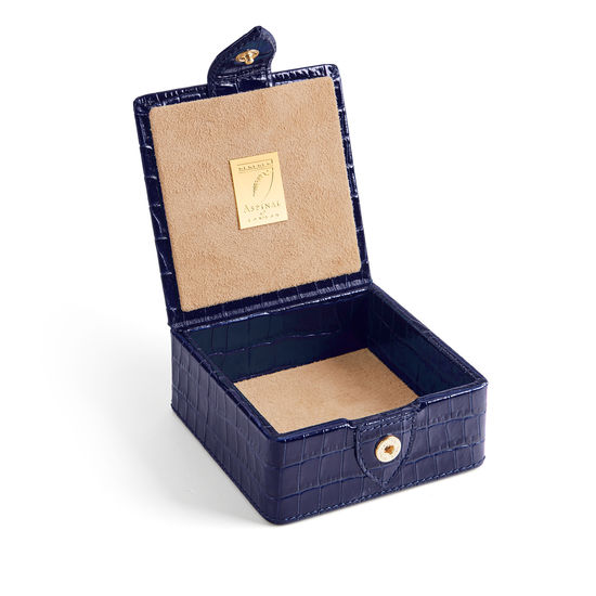 Stud Box in Deep Shine Midnight Blue Small Croc from Aspinal of London