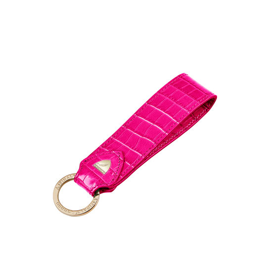 Leather Loop Keyring in Deep Shine Penelope Pink Small Croc from Aspinal of London