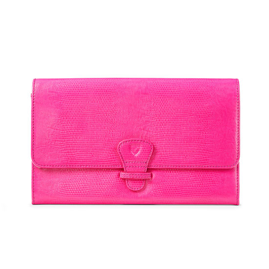 Classic Travel Wallet in Penelope Pink Silk Lizard from Aspinal of London