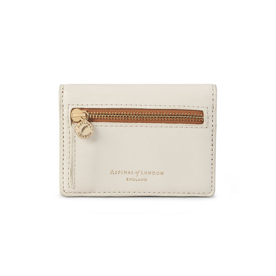 Accordion Zipped Credit Card Holder in Smooth Ivory, Mustard & Soft Taupe from Aspinal of London