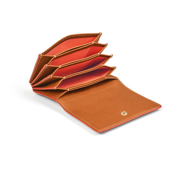 Accordion Zipped Credit Card Holder in Smooth Tan with Orange Contrast from Aspinal of London