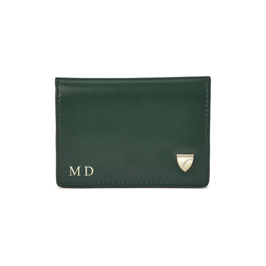 Accordion Zipped Credit Card Holder in Smooth Evergreen, Peony & Black from Aspinal of London