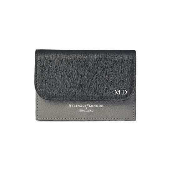 Accordion Credit Card Holder in Black & Grey Goatskin from Aspinal of London