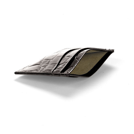 Slim Credit Card Case in Deep Shine Amazon Brown Croc & Stone Suede from Aspinal of London