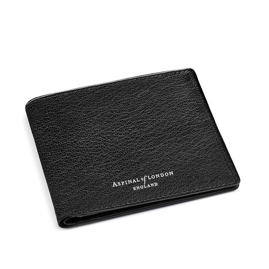 6 Card Billfold Wallet in Black & Grey Goatskin from Aspinal of London