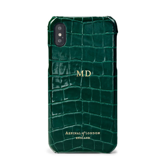 iPhone Xs Case in Evergreen Patent Croc from Aspinal of London