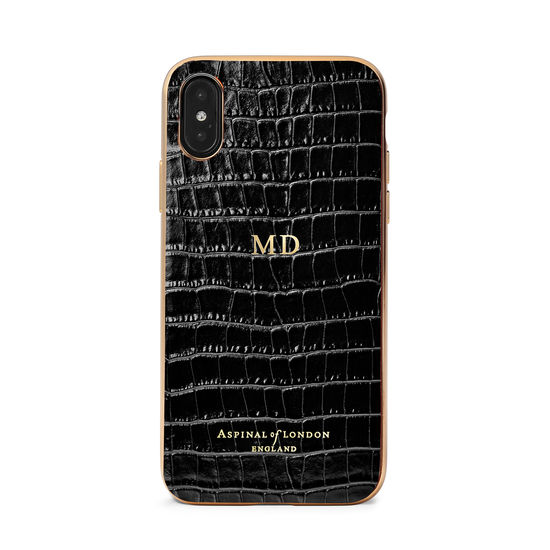 iPhone Xs Case with Gold Edge in Black Patent Croc from Aspinal of London