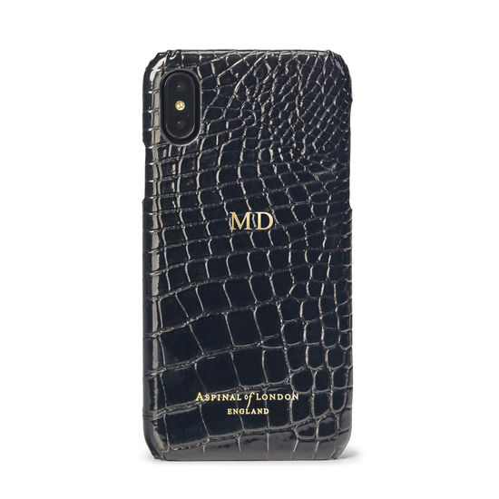 iPhone Xs Case in Black Patent Croc from Aspinal of London