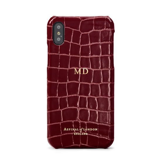 iPhone Xs Case in Bordeaux Patent Croc from Aspinal of London
