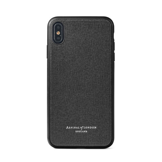 iPhone Xs Case with Black Edge in Black Saffiano from Aspinal of London