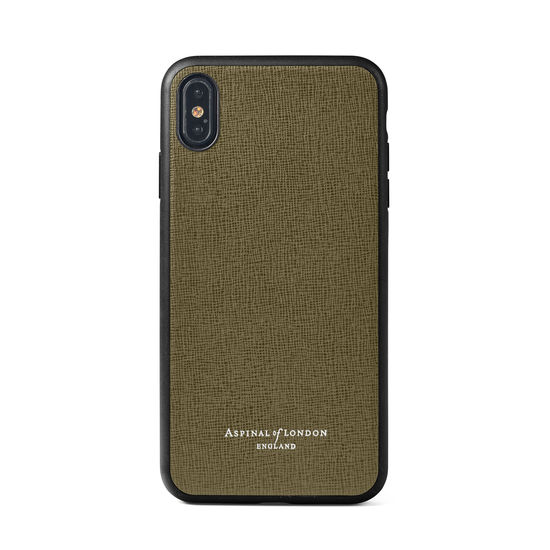 iPhone Xs Case with Black Edge in Sage Saffiano from Aspinal of London