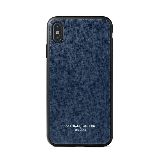 iPhone Xs Case with Black Edge in Navy Saffiano from Aspinal of London