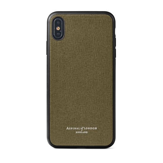 iPhone Xs Max Case with Black Edge in Sage Saffiano from Aspinal of London