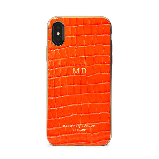 iPhone Xs Case with Gold Edge in Deep Shine Orange Small Croc from Aspinal of London