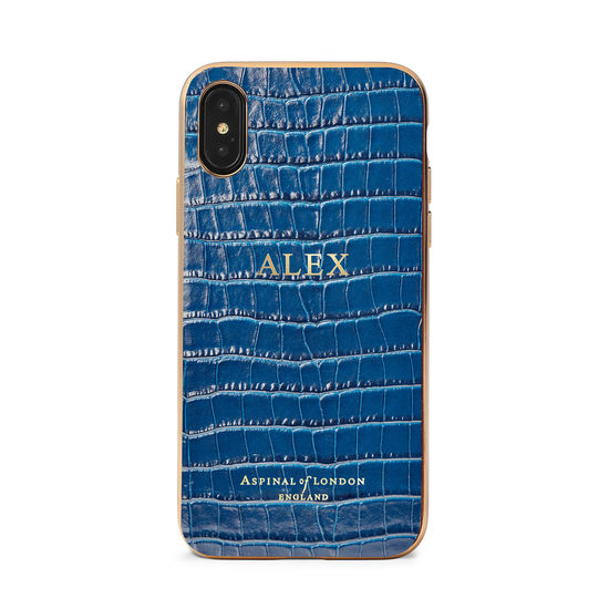 iPhone Xs Case with Gold Edge in Deep Shine Blue Small Croc from Aspinal of London
