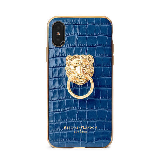 Lion iPhone Xs Case in Deep Shine Blue Small Croc from Aspinal of London