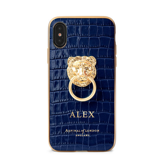 Lion iPhone Xs Case in Deep Shine Midnight Blue Small Croc from Aspinal of London