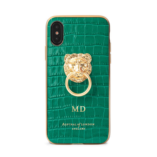 Lion iPhone Xs Case in Deep Shine Emerald Green Small Croc from Aspinal of London