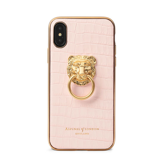 Lion iPhone Xs Case in Deep Shine Shell Pink Small Croc from Aspinal of London