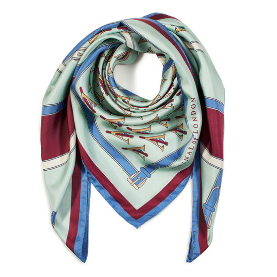 Alphabet 'A' Silk Scarf in Peppermint & Bordeaux from Aspinal of London