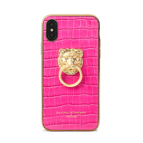 Lion iPhone Xs Case in Deep Shine Penelope Pink Small Croc from Aspinal of London
