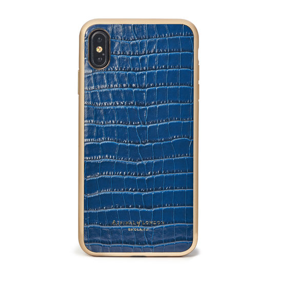 iPhone Xs Max Case with Gold Edge in Deep Shine Blue Small Croc from Aspinal of London