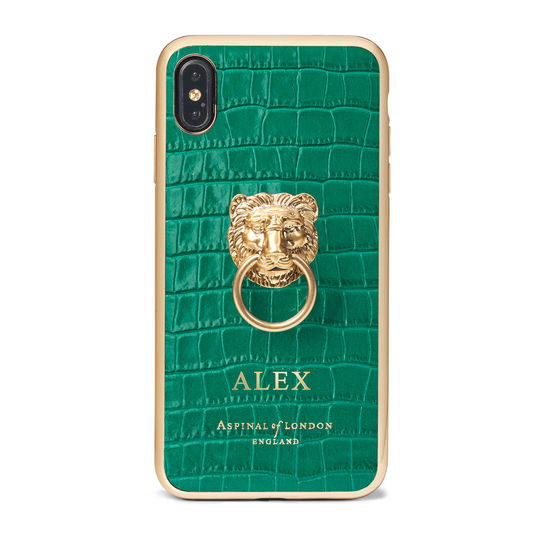 Lion iPhone Xs Max Case in Deep Shine Emerald Green Small Croc from Aspinal of London