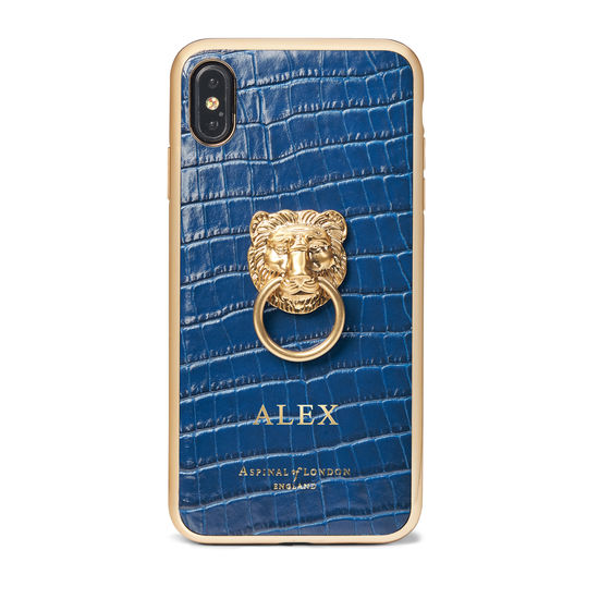 Lion iPhone Xs Max Case in Deep Shine Blue Small Croc from Aspinal of London