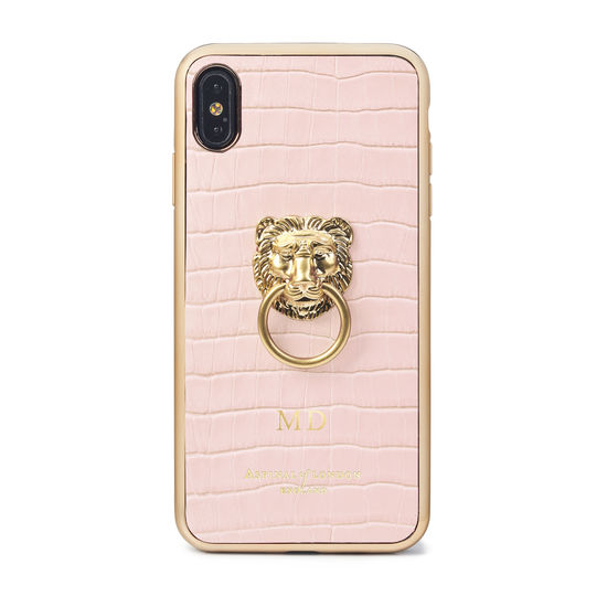 Lion iPhone Xs Max Case in Deep Shine Shell Pink Small Croc from Aspinal of London