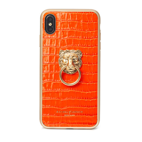 Lion iPhone Xs Max Case in Deep Shine Orange Small Croc from Aspinal of London