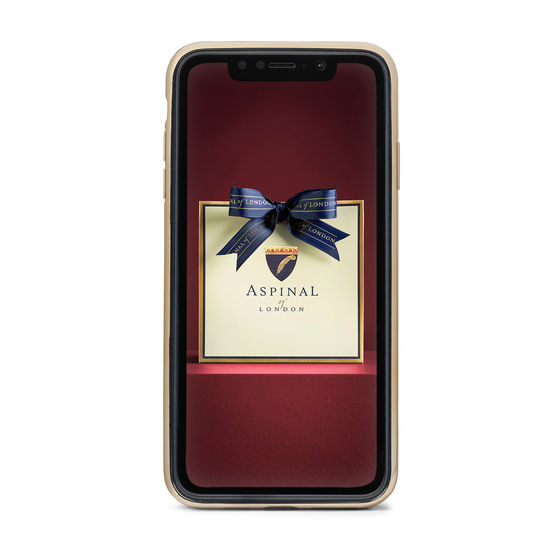 iPhone Xs Max Case with Gold Edge in Deep Shine Orange Small Croc from Aspinal of London