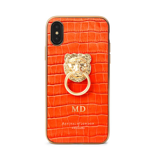 Lion iPhone Xs Case in Deep Shine Orange Small Croc from Aspinal of London