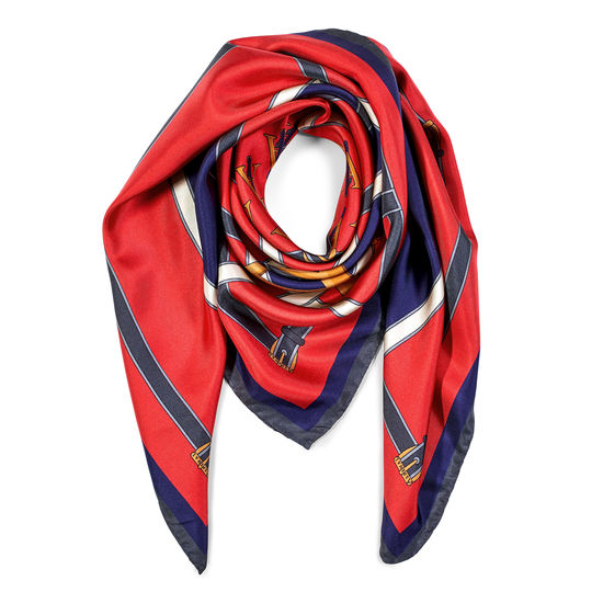 Alphabet 'A' Silk Scarf in Red & Navy from Aspinal of London
