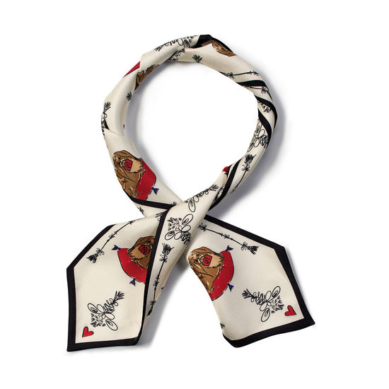 Pekingese Dog Pure Silk Neck Bow Scarf in Ivory Saffiano from Aspinal of London
