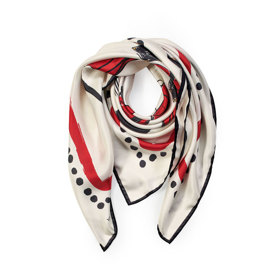 Guard Girls Pure Silk Scarf in Ivory Saffiano from Aspinal of London