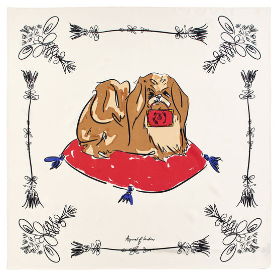 Pekingese Dog Pure Silk Scarf in Ivory from Aspinal of London