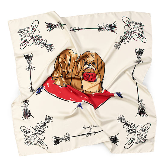 Pekingese Dog Pure Silk Scarf in Ivory Saffiano from Aspinal of London