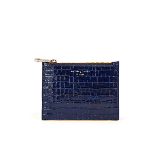 Small Essential Flat Pouch in Deep Shine Midnight Blue Small Croc from Aspinal of London