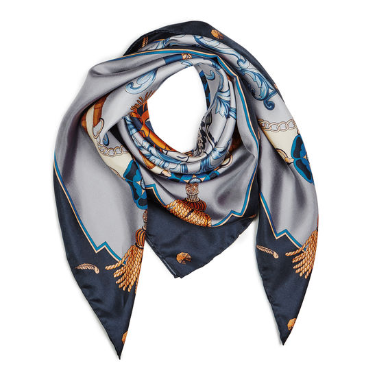 Aspinal Signature Shield Silk Scarf in Silvery Grey & Navy from Aspinal of London